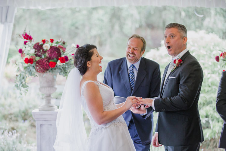 A funny moment captured during a wedding ceremony in the Pavilion at Bracu in Rama Rama near Auckland. This photo was taken by Mala from Mala Photography in Auckland.
