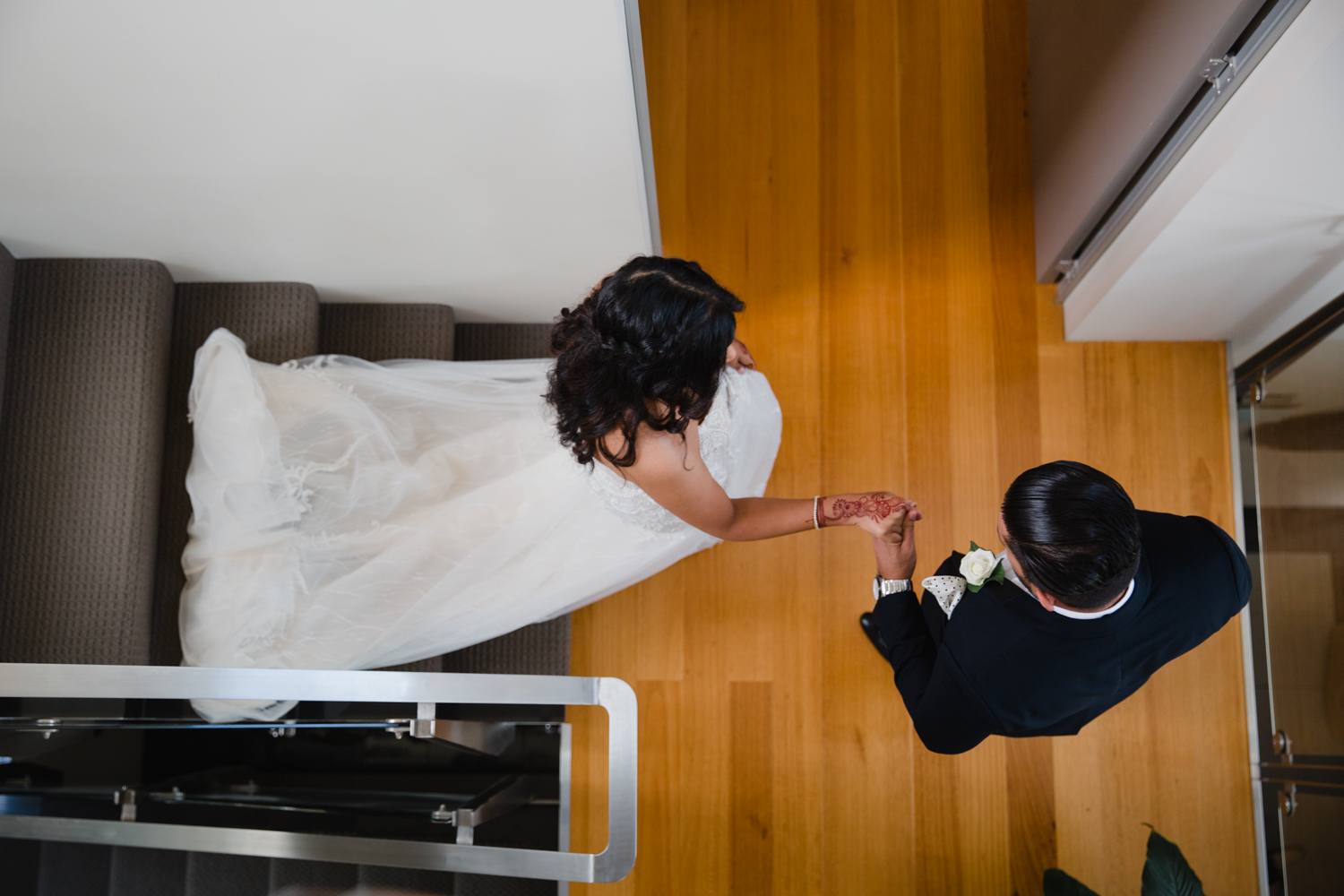 First look. This image was taken by Mala Photography, an Auckland based wedding photographer. The wedding was at Markovina Vineyard Estate In Kumeu, Auckland