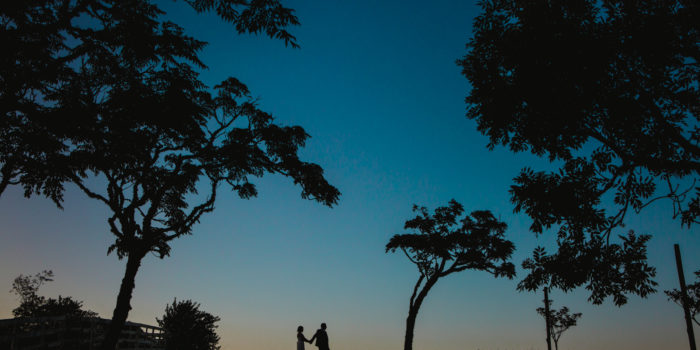 A stunning sunset shot taken at the Hunting Lodge Winery, a wedding venue in Waimauku near Auckland. This colourful and creative wedding photos was taken of the Bride and Groom by Mala Photography, an Auckland based wedding photographer.