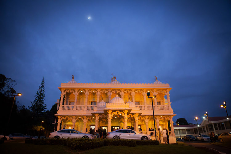 A night shot of the Swami Narayan temple in Avondale, Auckland, New Zealand. Taken during a traditional wedding by Mala Phototgraphy, and Auckland based wedding phootgrapher.