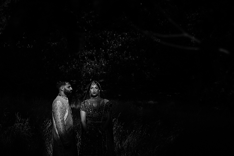 An artistic black and white photo of an Indian Bride and Groom on their wedding day. They are standing in a shaft of light shining through tall tress. Photo taken by Mala Photography, an Auckland wedding photographer that has a lot of experience in shooting Indian weddings in Auckland and through out New Zealand.